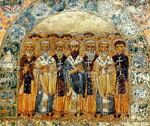 The Church Fathers, an 11th-century Kievan miniature from Svyatoslav's Miscellany